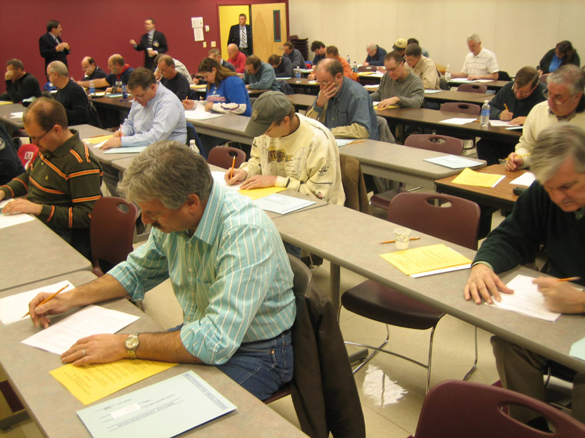 Candidates taking guide exam December 6, 2008